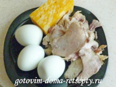 салат с курицей, сыром и яйцами 6