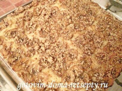 песочный пирог с творогом и бананами 5