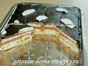 Торт из печенья без выпечки с творогом, какао и изюмом