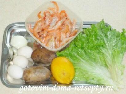 салат с креветками, сыром и яйцами 2