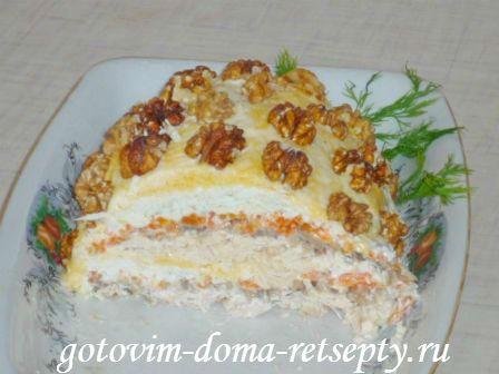 Салат курица с грибами и сыром слоями рецепт пошагово