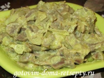 куриные желудки, рецепт в сметане 1