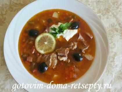 Рецепт солянки мясной сборной классический