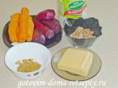 салат с сыром морковью орехами и свеклой 1