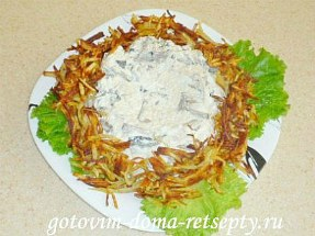 салат с курицей, сыром и грибами 13