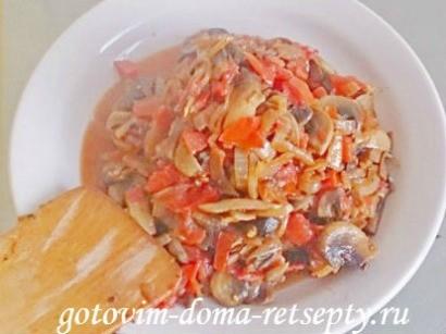 курица с грибами и помидорами 9