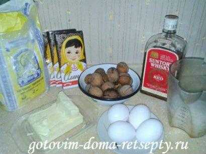 шоколадный бисквит, рецепт с орехами 2