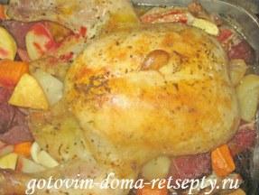 курица запеченная с овощами в духовке целиком 10