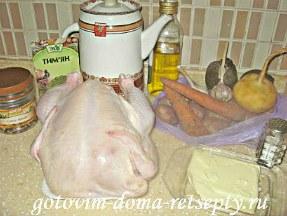 курица запеченная с овощами в духовке целиком 2