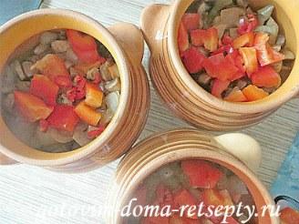 мясо в горшочках с грибами, картошкой и овощами 11