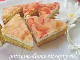 пирог с творогом и фруктами