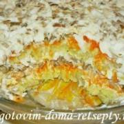 слоеный салат с грибами и картофелем деревенский