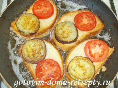 горячие бутерброды с баклажанами помидорами и сыром 8