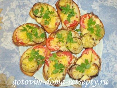 горячие бутерброды с баклажанами помидорами и сыром