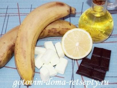 ингредиенты для десерта из бананов с шоколадом и зефиром