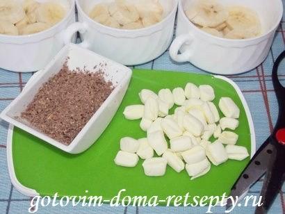 тёртый шоколад и нарезанный зефир маршмеллоу