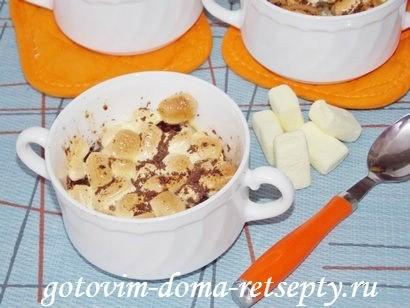 десерт из бананов с шоколадом и зефиром маршмеллоу 8