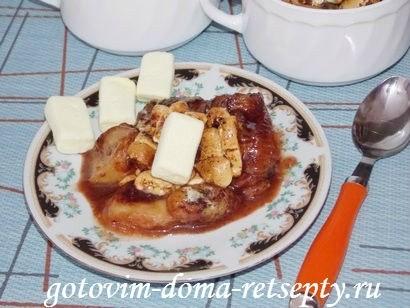 десерт из бананов с шоколадом и зефиром