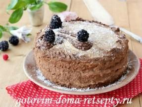 Кокосовый бисквитный торт на белках с кремом из сгущенки