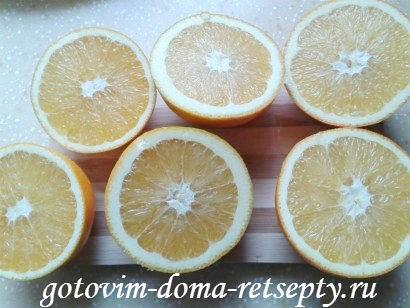 разрезаем апельсины на половинки