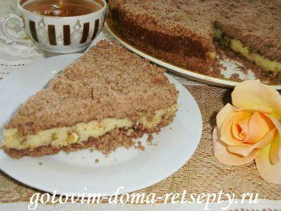 торфяной пирог с творогом и орехами