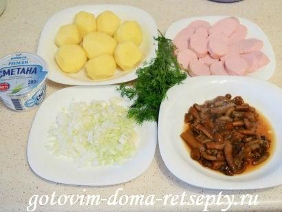 теплый салат с грибами картофелем 1
