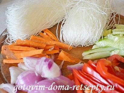фунчоза с овощами и мясом, рецепт с фото 1