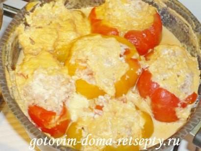 фаршированный мясом и рисом перец, рецепт