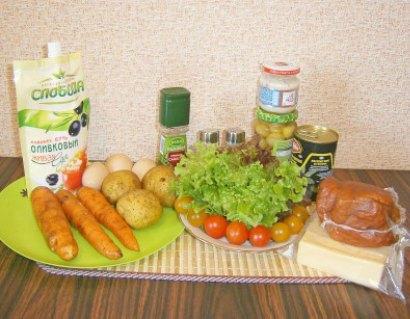 салат с грибами и сыром 1