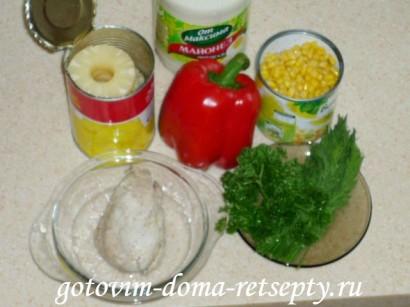 салат с курицей и ананасами рецепты 11