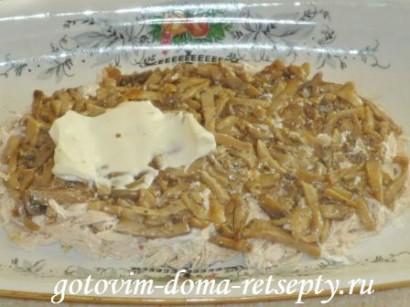 салат из курицы с грибами и сыром 10