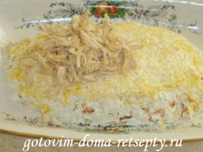салат из курицы с грибами и сыром 15