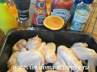 куриные крылышки в духовке, в соусе 1