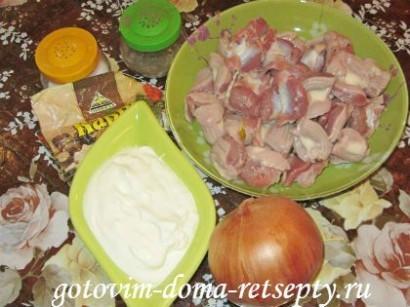 куриные желудки, рецепт в сметане 2