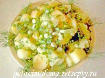 cалат из картофеля с зеленью