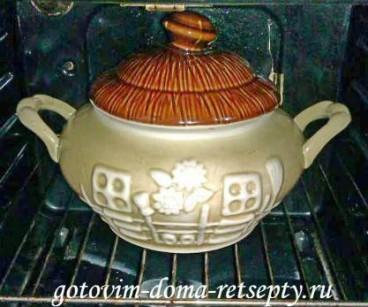 картофель с грибами и курицей в горшочке 6