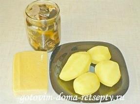 салат с курицей, сыром и грибами 2