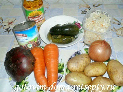 винегрет классический, рецепт с фасолью 1