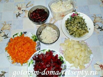 винегрет классический, рецепт с фасолью 3