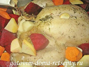 курица запеченная с овощами в духовке целиком 9