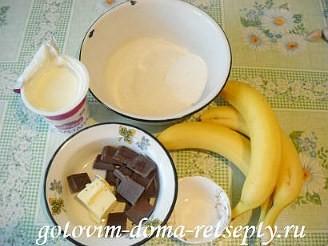бисквитный шоколадный торт с кремом и банановой начинкой 1