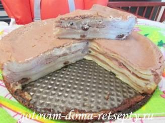 блинный торт с творогом и какао