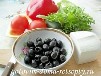 Греческий салат с брынзой, рецепт 1