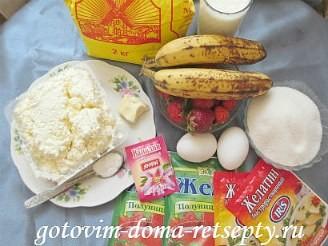 пирог с творогом и фруктами 1