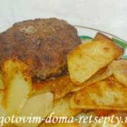 куриные котлеты с грибами и домашними чипсами, рецепт с фото