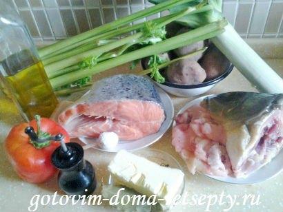 рыбный суп, рецепт из красной и белой рыбы 1