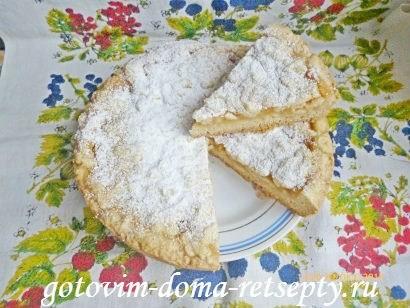 тертый пирог из песочного теста в мультиварке с яблочным пюре 11