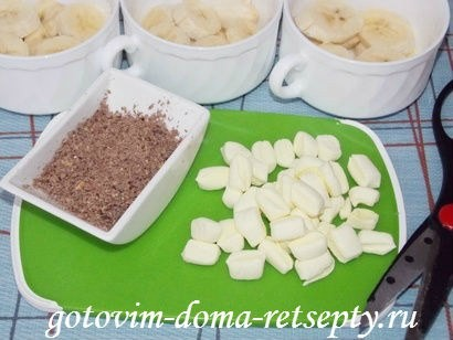 десерт из бананов с шоколадом и зефиром маршмеллоу 4