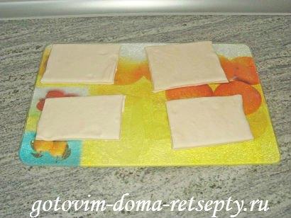 слоеные конвертики с сыром или творогом из готового теста 9