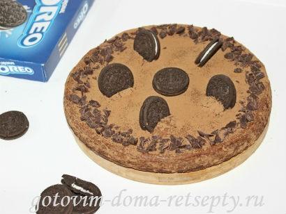 творожный пирог с шоколадным печеньем и шоколадом
